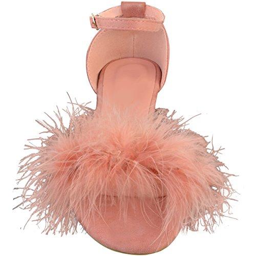 Moda Sete Womens Finto Marabù Sandali Piatti Cinturino Alla Caviglia Scarpe Dimensione Pastello Rosa Faux Suede / Faux Marabou