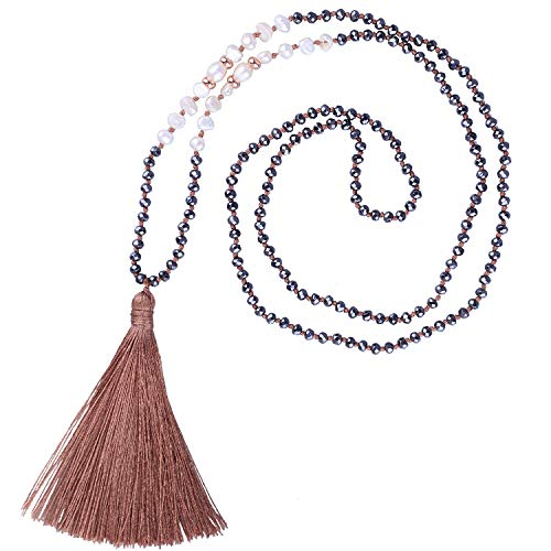 KELITCH Long Tassel Necklace Handmade Shell Pearl Crystal Beads Necklace Fashion Women Jewelry(Light ()