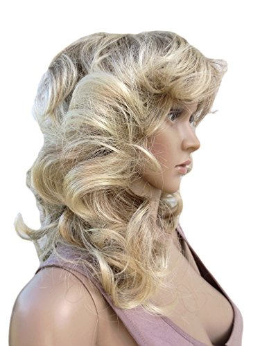[WIG PERRUQUE MID LENGTH SOFT LARGE CURLED WIG. HIGHLY VERSATILE 70's STYLE IN OUR FAMOUS ASH BLONDE MIX (FARRAH] (Farrah Fawcett Wig)