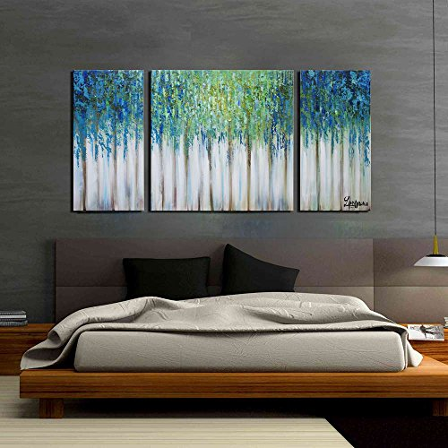 ARTLAND Hand-painted 24x48-inch 'Blue Memory'3-piece Gallery-wrapped Abstract Oil Painting on Canvas Wall Art Set