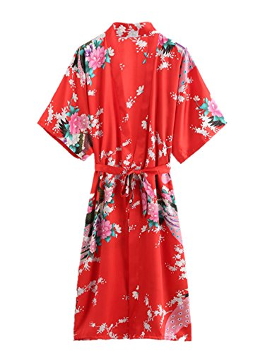 Romwe Women's Floral Peacock Print Short Sleeve Kimono Satin Robe with Belt Red M