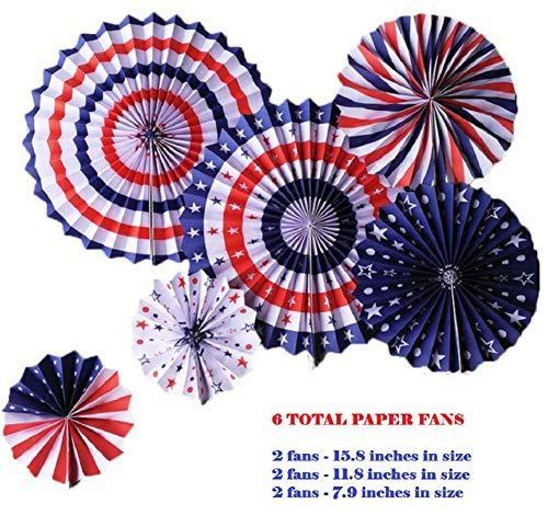 4th of July Decorations Kit - Patriotic Party Hanging Paper Fans - Fourth of July Memorial Day - Military Homecoming Veterans Political Rally by Jolly Jon ®