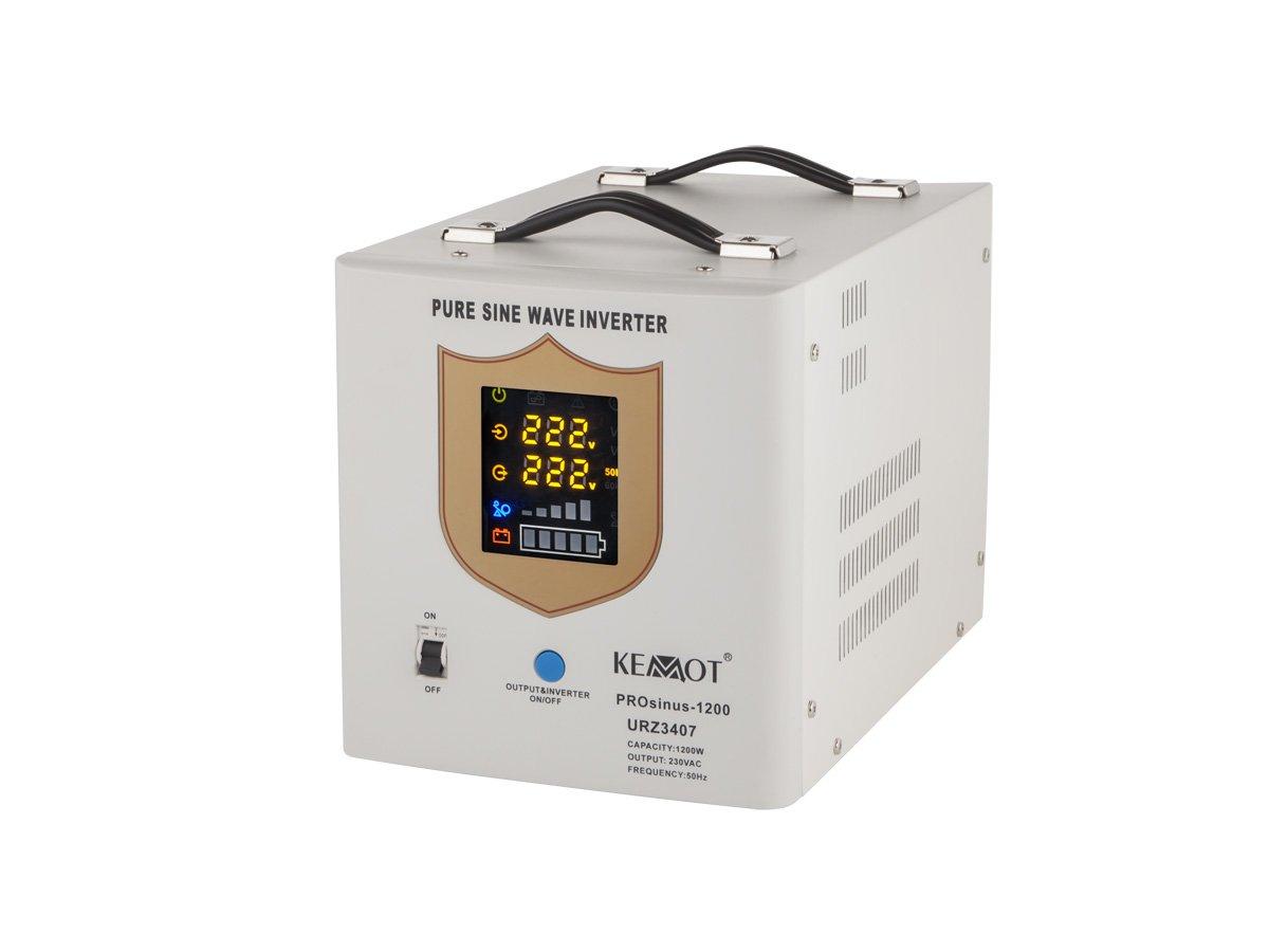 Notstromversorgung KEMOT PROsinus-1200 URZ3407 Wechselrichter reiner Sinus Ladefunktion 12V 230V 2000VA/1200W, weiß