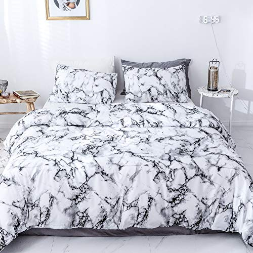 Janzaa 3 PCS Duvet Cover Set Queen Marble Pattern Printed White Soft Microfiber Bedding Set with Zipper Closure,Queen (White Marble,Queen)
