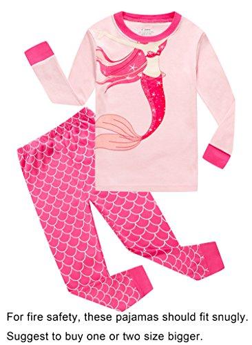 Family Feeling Mermaid Little Girls Long Sleeve Pajamas Sets 100% Cotton Pyjamas Kids PJS Size 7 Red for $<!--$14.99-->