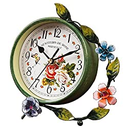 Black Temptation Pastorale Mute Iron Craft European Style Table Clock Home Decor [Green Flower]