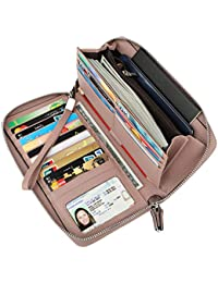 Women's RFID Blocking Real Leather Zip Around Wallet...