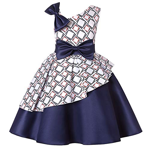 Party Dress for Girls Cold Shoulder Bow Frocks for Girls Flower Girls Dress Girls Kids Party Wear Dress Kids Wedding Dress Girl Dress Kids Ruffles Lace Party Wedding Dresses Size 3 2-3 (1866 Navy,3)