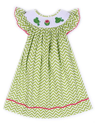 Babeeni Girl Smocked Dress With Hand-Smocked Watermelon Patterns, Lime Green Small Chevron Fabric, Angel Sleeve Bishop Dress For Baby Girls (Angel Sleeve Bishop)