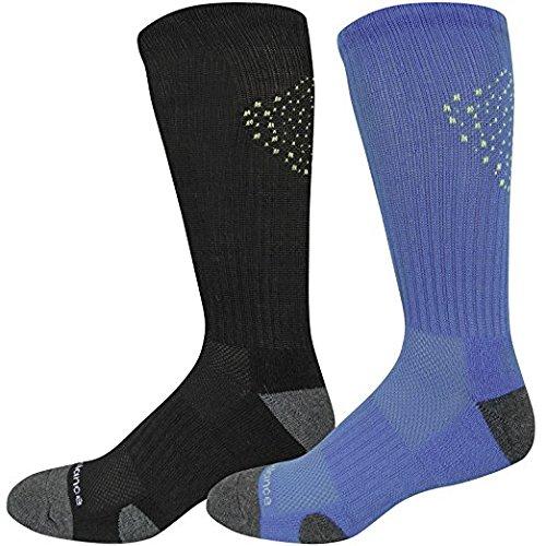 New Balance Men's 2 Pack Core Performance Crew Socks Black/Bolt Blue Large Core Medium Crew Socks