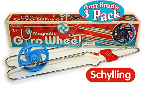Schylling Classic Retro Magnetic Gyro Wheel Rail Twirler Party Pack Bundle - 3 Pack