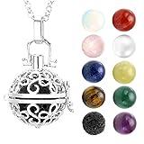 "JOVIVI Hollow Flower Chakra Pendant/Locket Necklace 28"" with Natural Lava Stone for Chakra Balancing"