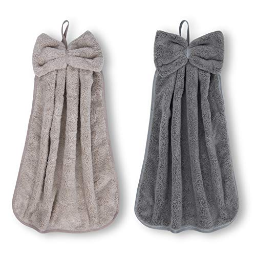 Hand Towels for Bathroom and Kitchen, Hanging Bath Kitchen Towel - [2 Pack] Ultra Soft and Highly Absorbent Microfiber Coral Fleece with Hanging Loop, Quick Drying, Machine Washable (Grey&Brown)