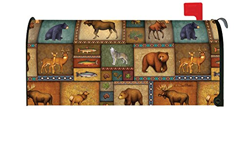 Toland Home Garden Quilted Wilderness Wildlife Animal Bear Deer Wolf Magnetic Mailbox Cover