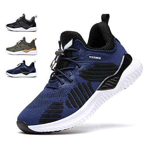 (WETIKE Kids Sneakers Boys High Top Athletic Gym Shoes Lightweight Comfortable Tennis Shoes Slip on No Laces Trainers Shoes Soft Knit Youth Shoes Big Little Kids Blue Size 5.5)