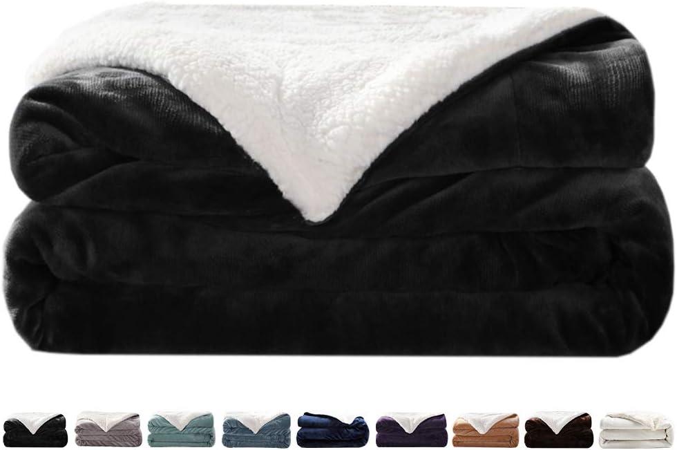 "LIANLAM Sherpa Fleece Blanket Queen Size Dual Sided Blanket Super Soft and Warm Fuzzy Plush Cozy Luxury Bed Blankets Microfiber (Dark Grey, 90""x90"")"