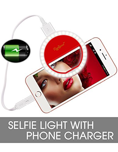 Raphycool Clip on Selfie Ring Light, Rechargeable Selife Light Power-Bank 1500mAh LED Ring Light Phone Camera Photography Video-Red by Raphycool