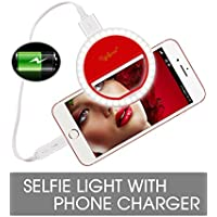 Clip on Selfie Ring Light, Rechargeable Selife Light with Power Bank 1500mAh LED Ring Light for Phone Camera Photography Video-Red