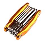 West Biking Bike Multi Fixing Tools, Carbon Steel Portable Compact Multifunctional Mountain Bike Cycling Allen Key Wrench Set for MTB Road Bike Cycling Accessories (Golden)