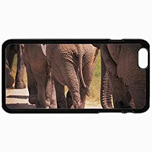 Customized Cellphone Case Back Cover For iPhone 6, Protective Hardshell Case Personalized Elephants Gait Tail Black