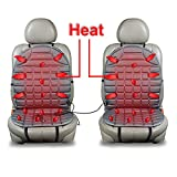 heated back seat covers for cars - Zento Deals Car Heated Seat Cover Cushion Hot Warmer - 2-Piece Set 12V Heating Warmer Pad Hot Gray Cover Perfect for Cold Weather and Winter Driving