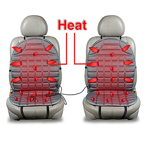 Zento Deals Car Heated Seat Cover Cushion Hot Warmer - 2-Piece Set 12V Heating Warmer Pad Hot Gray Cover Perfect for Cold Weather and Winter - Hot Sites Mobile