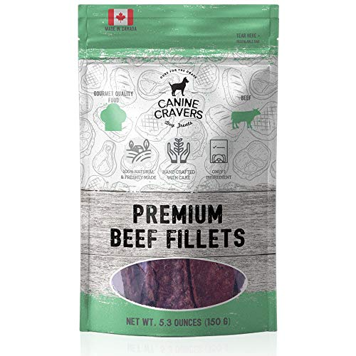 Canine Cravers Single Ingredient Dog Treats - Premium Beef Fillets - Human Grade Air Dried Hypoallergenic Pet Food - Grain, Gluten, and Soy Free - 100% All Natural - 5.3 oz