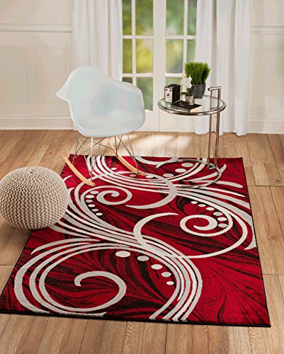 Summit NF-15GZ-7N9Z New Elite ST49 Red White Grey Black Swirls Modern Abstract Area Rug Multi Color Many Sizes Available  (4 x 5 Actual Is 3'.8''x5')]()