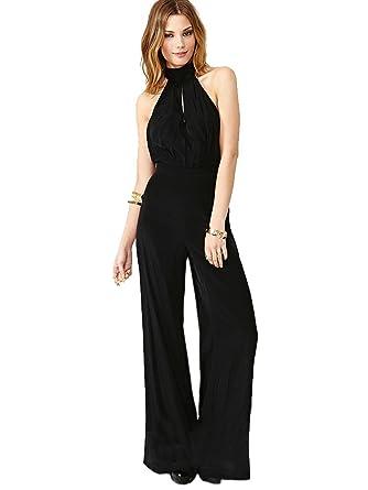 Amazon.com: Purpura Erizo Womens Backless High Waist Halter Black ...