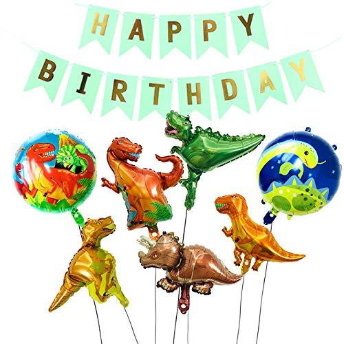 Animo Dinosaurier Ballon Set zum Dekorieren von Party 5 Dinosaurier und 2 Ballons plus ein Happy Birthday Banner Dschungel St