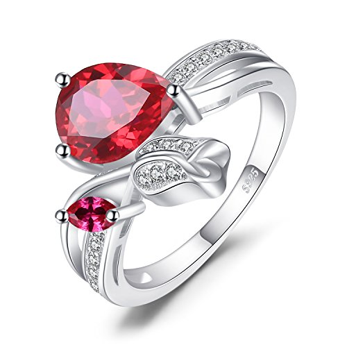 JewelryPalace Flower Rose 2.6ct Created Red Ruby Love Promise Ring 925 Sterling Silver Size 7