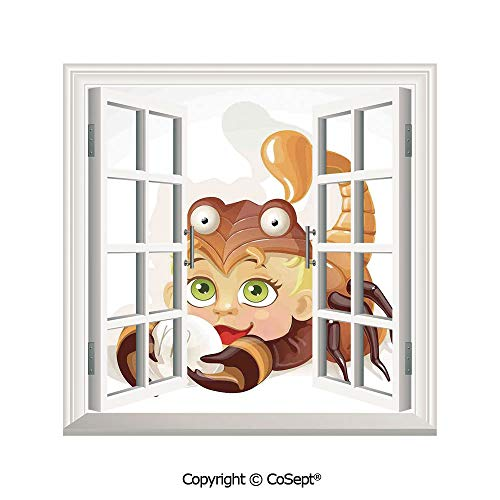 SCOXIXI Removable Wall Sticker,Llittle Scorpio Horoscope Sign with Claws Courage Planet Mars Elements Joy Wall Art Decorative,Window Sticker Can Decorate A Room(25.86x22.63 inch)