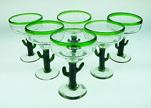 Mexican Glass Margarita Saguaro Cactus Green Rim Hand Blown Set of 6 -