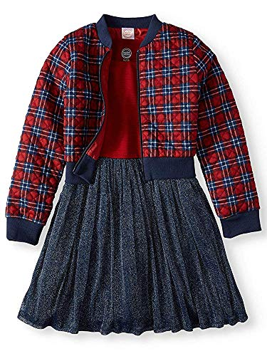 Wonder Nation Dress and Quilted Plaid Bomber Jacket 2-Piece Outfit Set (L 10/12) Blue