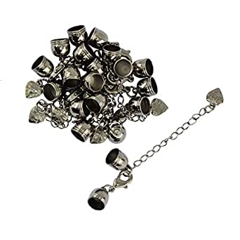 Prettyia 10pcs Jewelry Making Finding Set Lobster Clasps Cord End & Extension Chain - Black, as described