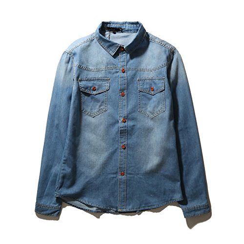 Bikifree NEW Cotton Long Sleeve Casual Shirt Slim Denim Shir