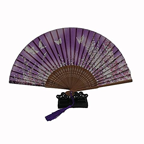 Silk Folding Fan Bamboo Hand Fan, K.MAX Japanese Style Sakura and Butterflies Pattern Design Hand Held Fans for Dancing Cosplay Wedding Party Props Home Office Wall DIY Decoration (Purple)