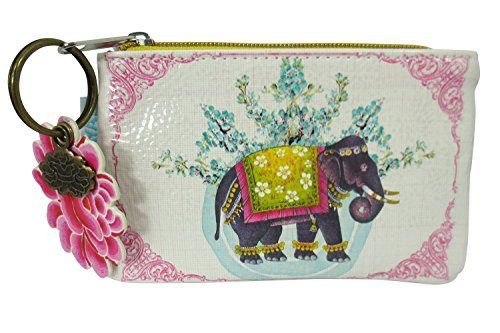 Papaya Art Festival Lucky Elephant Art Design Oil Cloth Keychain Coin - Elephant Design India
