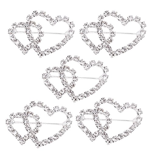 MagiDeal 5 Pieces Double Heart Crystal Brooch Pin Buckle Women's Wedding Bridal Jewelry Decor 32mm