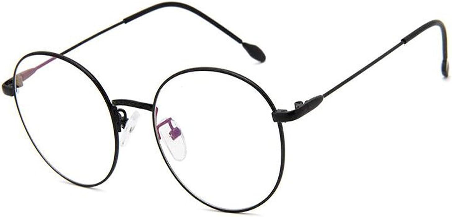 bf6558f682e Amazon.com  Fulision Unisex Retro Style Round Metal Frame Glasses Eyewear  Clear Lens Spring Hinge  Clothing