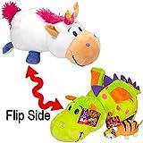 "Flip A Zoo 14"" Unicorn to Dragon Plush Flipazoo with 5"" Bonus Elephant to Tiger Flipzee"