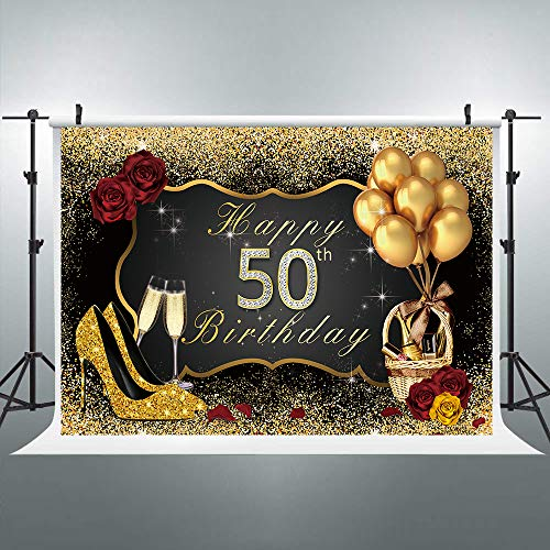 Riyidecor 50th Birthday Backdrop Black Gold Woman Balloons