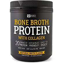 Bone Broth Protein with Collagen (Natural Chicken Broth Flavor) ~ A Paleo Freindly, Keto Certified, High Protein, Zero Carb Supplement for Healthy Skin, Joints, & Muscles ~ Non-GMO & Dairy Free