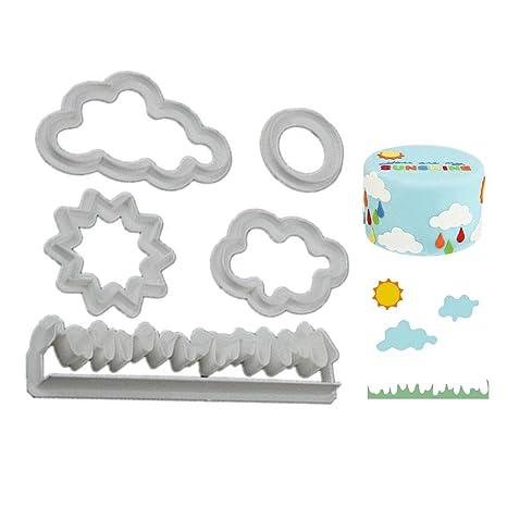 Molde para tartas con forma de nube de hierba, mini cortadores para fondant, chocolate