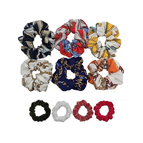 10 Pcs/lot Soft Chiffon Satin Hair Scrunchie Floral Grip Loop Holder Stretchy Hair Band Leopard Women Hair Accessories,09 ()