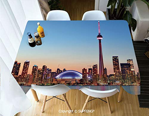 Picnic Tablecloth Canadian Skyline Toronto City with Lake Panorama at Evening Urban Scenery Decorative (60 X 120 inch) Great for Buffet Table, Parties, Holiday Dinner, Wedding & More.Desktop decorati