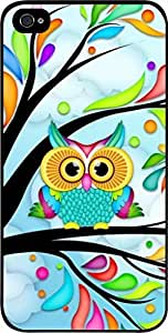 Colorful Owl in a Tree - Case for the Apple Iphone 5c-5cs Universal-Hard Black Plastic