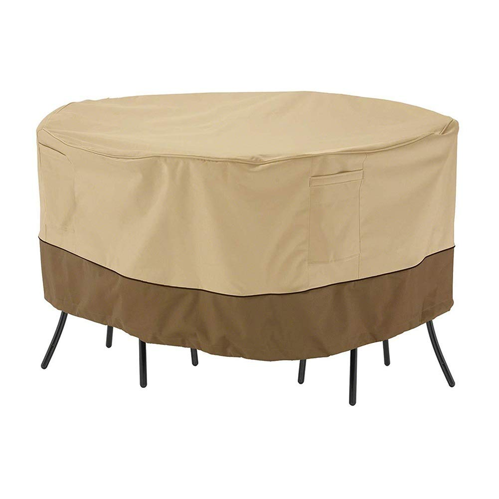 Furniture Covers Round Patio Table Cover, Waterproof Anti-Fade Durable Outdoor, Beige and Brown, 182x60cm (72'' Wx24 H) by Furniture Covers