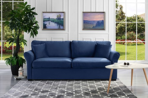Classic and Traditional Ultra Comfortable Velvet Fabric Sofa - Living Room Velvet Couch ()