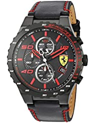 Scuderia Ferrari Mens Quartz Stainless Steel and Leather Casual Watch, Color:Black (Model: 830363)